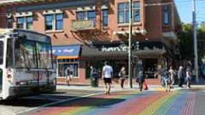 The Beach Chalet Brewery & Restaurant Castro_Street_Pedcrossing_with_Rainbow_Flag_Colour