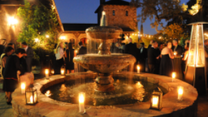 Castello di Amorosa fountain-night-shot-600x400