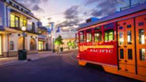 Downtown Disney District red-car-trolley-01