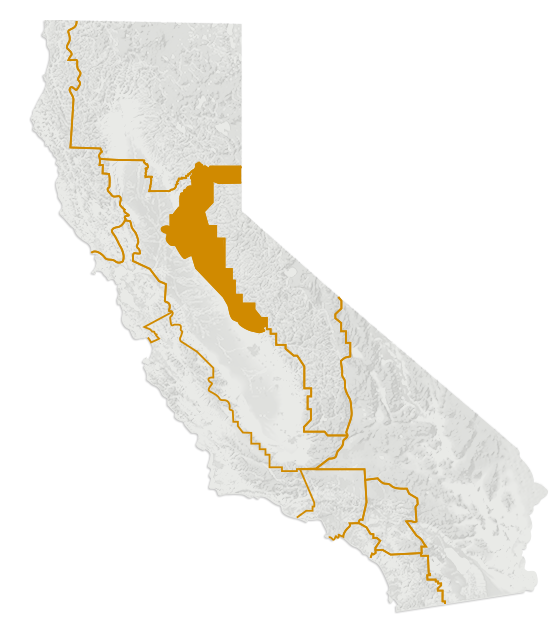 Map of California's Gold Country region