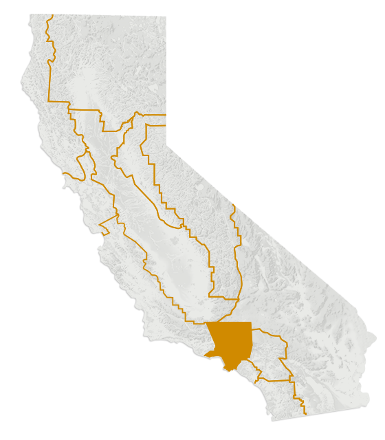 Map of the Los Angeles region