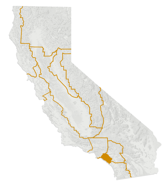 California regional map highlighting Orange County