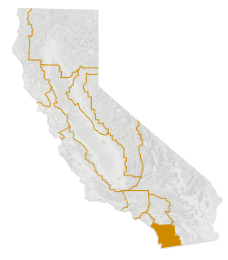 San Diego County on a map of California